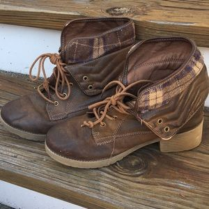Brown boots with plaid fabric trim
